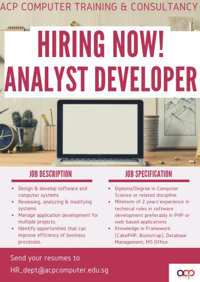 We are Hiring! Analyst Developer